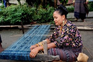 Traditional ikat weaving Flores travel